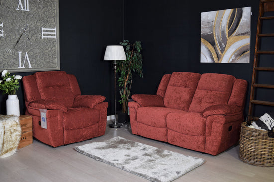TOP BRAND - Augustine 2 Seater Manual Recliner & Electric Recliner Chair - Russet