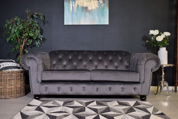 Chelsea 3 Seater Sofa - Grey / Velvet