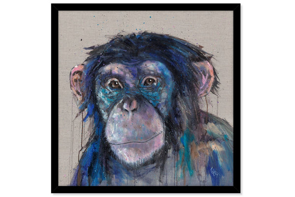 'Cheeky Monkey' Wall Art - Blue / Black / Grey / Animal