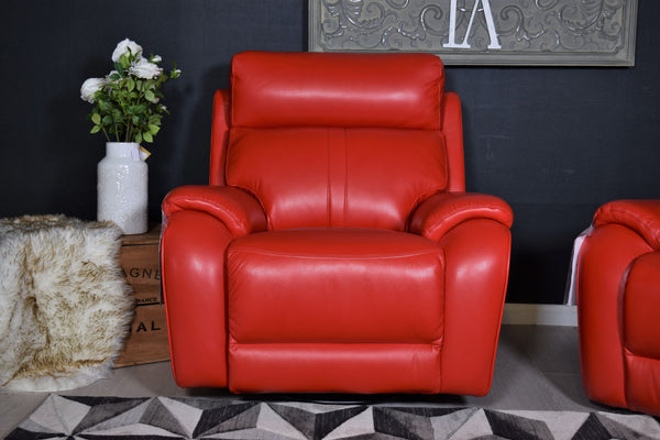 Winchester Swivel Power Recliner Chair - Red