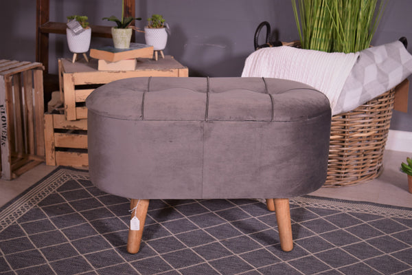 Grey Storage Footstool