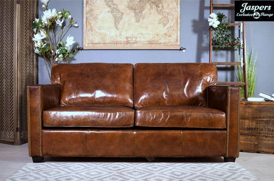 Harper Brown Leather 2 Seater Sofa