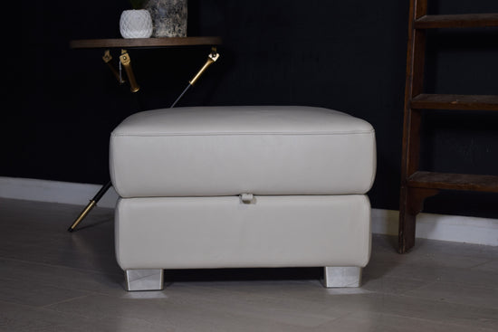 Cream Leather Foostool