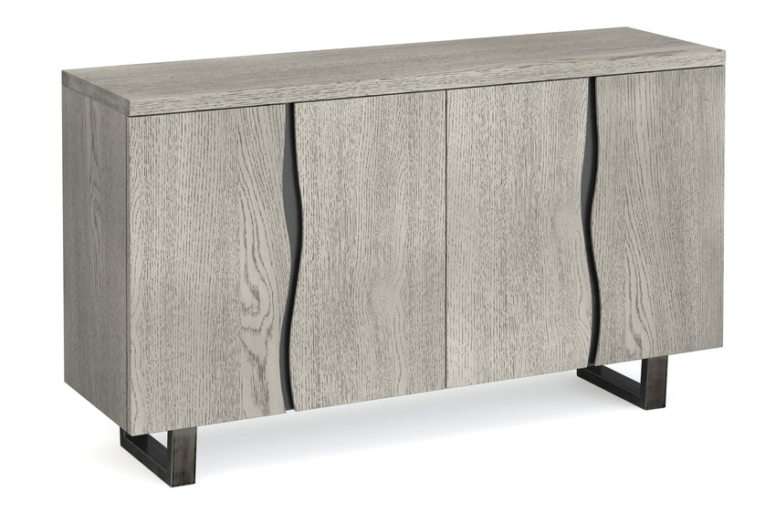 *CLEARANCE* Beaumont 4 Door Large Sideboard - Stone Grey / Gun Metal