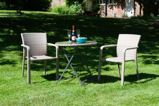SET - 2x Grey Faux Rattan Garden Chairs & Glass Top Table