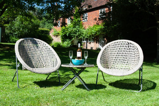 SET - 2x Grey Faux Rattan Folding Round Garden Chairs & Glass Top Table