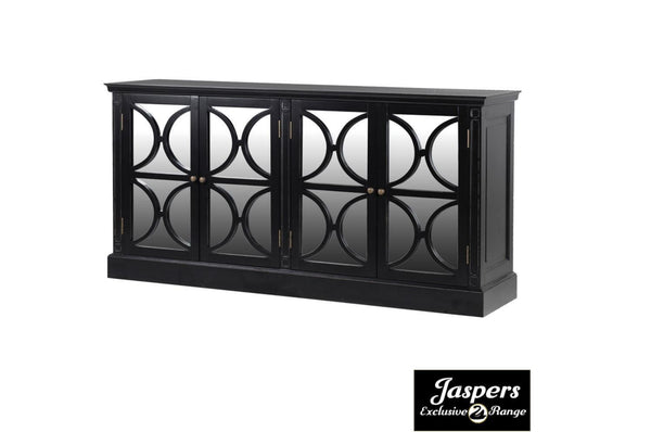 Black Fayence 4 Drawer Mirrored Sideboard