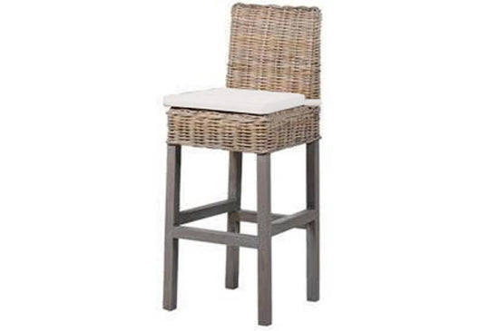 Wicker Bar Stool with Cushion - (Available in Various Colours)