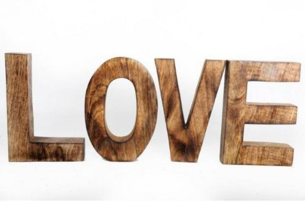Wooden Letters 'Love' Ornament - Brown / Wood