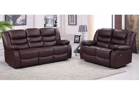 SET - Raffles 3 Seater & 2 Seater Manual Recliner - Drinks Holder / Bonded Leather