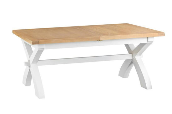Trentham Collection - 1.8m Cross Extending Table - Oak - Available in White or Grey