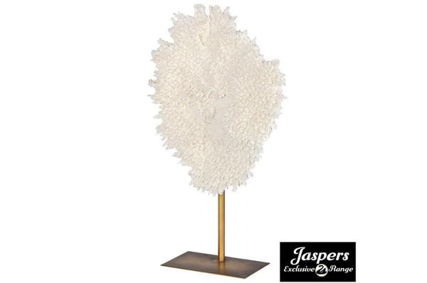 Small White Faux Coral On Stand