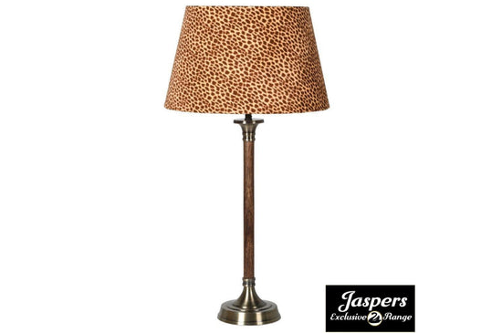 Wood and Brass Lamp with Leopard Velvet Shade
