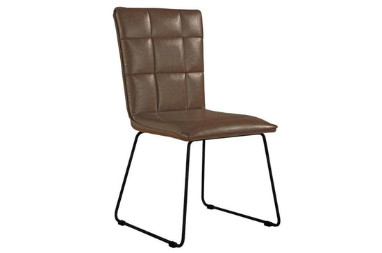 Panel Back Dining Chair With Angular Legs - Brown