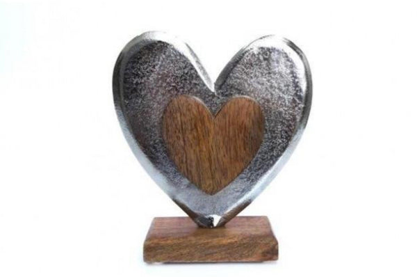 Wood Metal Heart Ornament - Brown / Silver