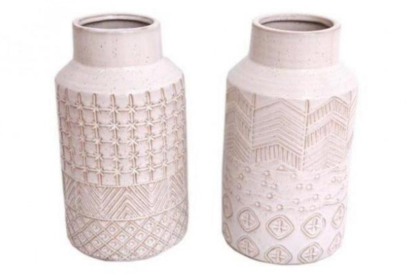 Stoneware Vase - Natural / Pattern