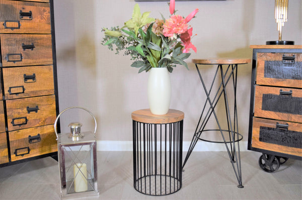 Ravi Round Top Side Table - Wooden top / Iron