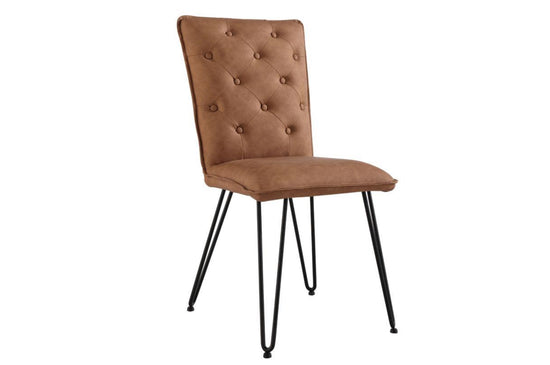 Studded Back Dining Chair With Hairpin Legs