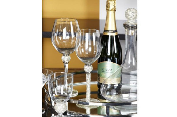 Milano White Wine Glass - Diamante Stem & Ball