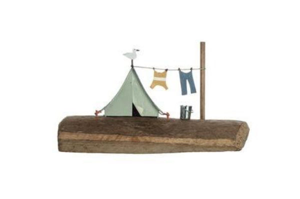 Tent Scene Ornament - Blue / Mint Green / Brown