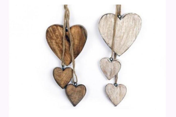 Wooden Carved Hanging Hearts