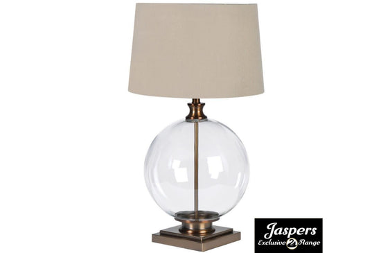 Glass Ball Lamp with Linen Shade