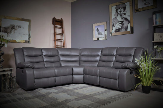Raffles Manual Recliner Cornergroup Sofa With Cup Holder - Bonded Leather