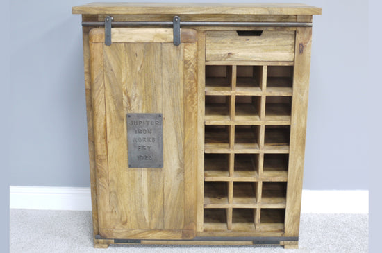 Industrial Style 1 Door 1 Drawer Gin / Wine Cabinet