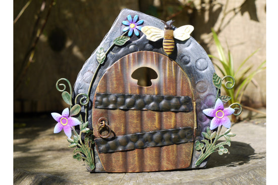 Fairy Door Ornament - Green / Grey / Brown