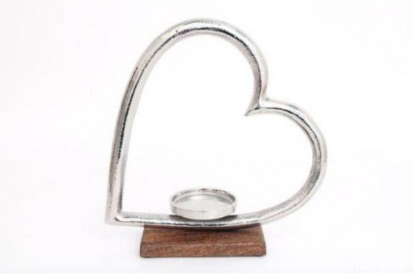 Heart Candle Holder - Silver