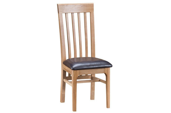 Nottingham Slat Back Dining Chair PU - Oak
