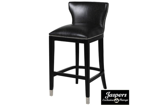Black Faux Leather Barstool with Chrome Ring