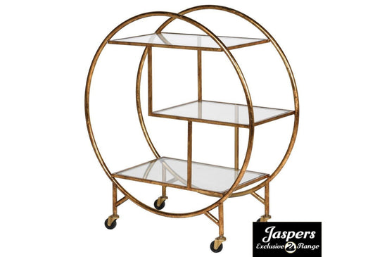 Gold Glass Bar Trolley - Shelf / Circular