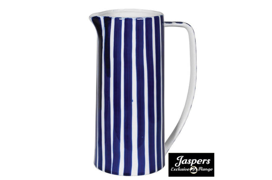 Blue and White Striped Jug
