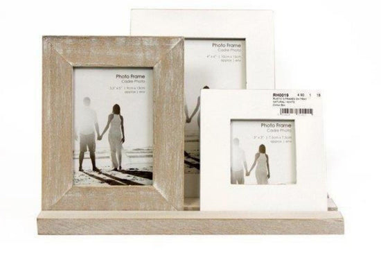Rustic Triple Photo Frame On Tray