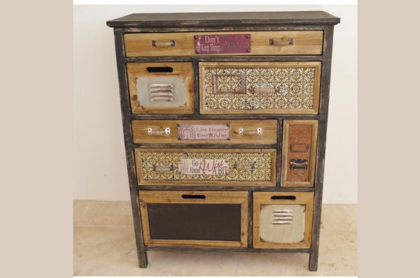 Industrial Style 8 Drawer Storage Cabinet