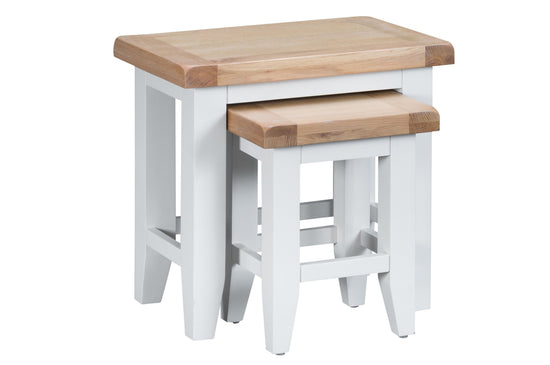 Trentham Collection - Nest of 2 Tables - Oak - Available in White or Grey
