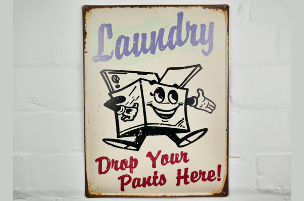 Novelty Laundry Sign - White / Blue / Red / Rustic