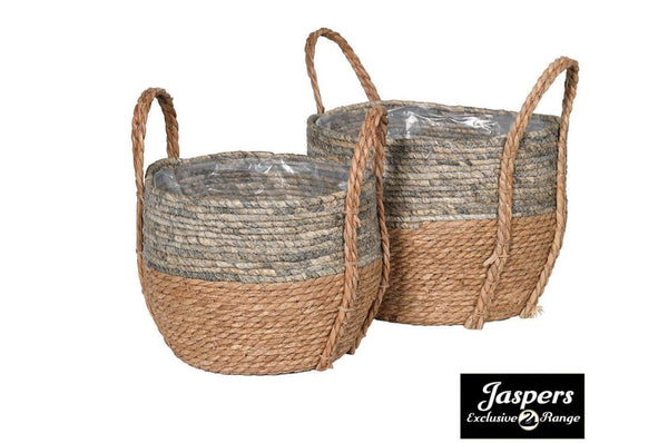 Set of 2 Straw and Corn Baskets