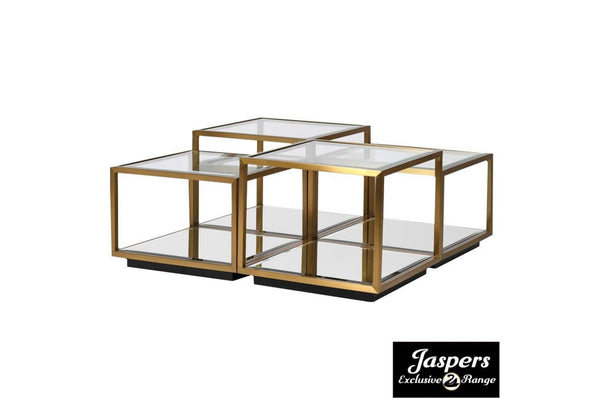 Glass Top Multi Level Modular Coffee Table