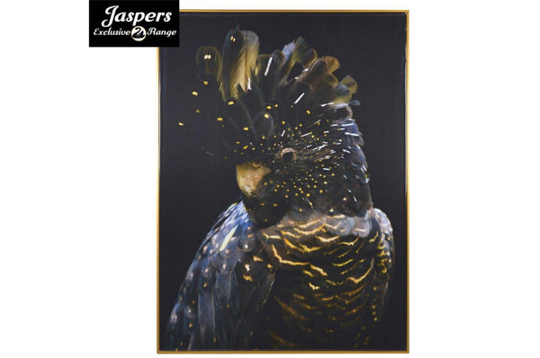 Left Facing Parrot Picture - Dark / Gold / Blue