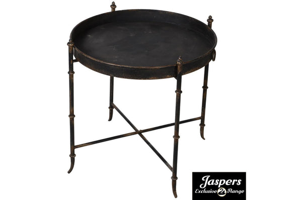 Black Distressed Metal Tray Side Table