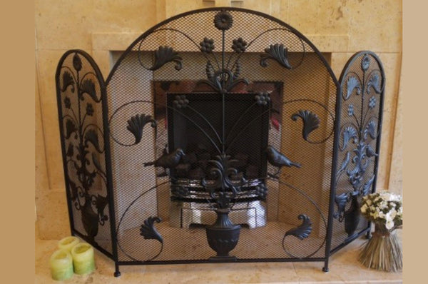 Fire Screen - Vintage Style - Curved / Floral / Birds