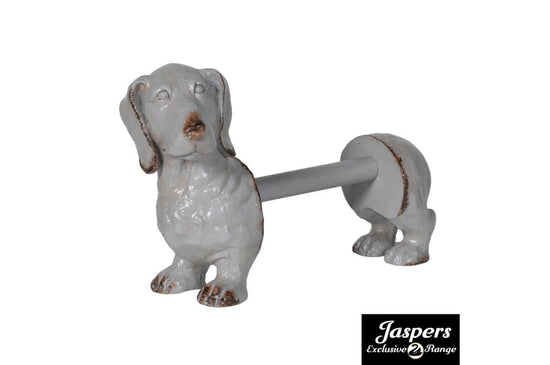 Dog Kitchen Roll Holder - Grey / Natural