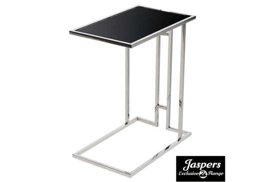 Stainless Steel Black Glass Side Table