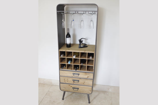Industrial Style 3 Drawer Metal Gin / Wine Cabinet