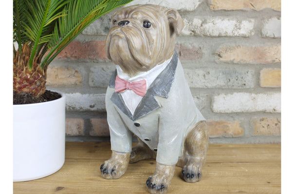 Sitting Bulldog Statue - Resin - Grey Suit & Bow Tie