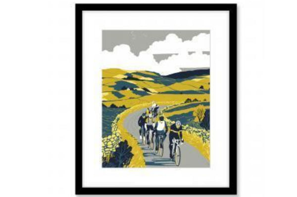 Yorkshire Wall Art - Cyclist / Yellow / Green