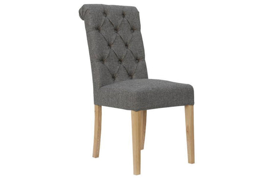 Fabric Button Back Chair with Scroll - (Available in Various Colours)