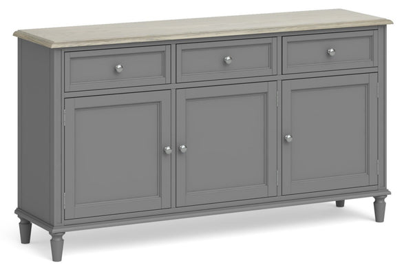 Morocco Large 3 Drawer 3 Door Sideboard - Grey